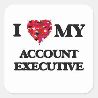 Amo mi ejecutivo de cuenta pegatina cuadrada