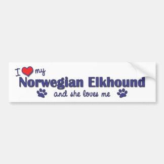 Amo mi Elkhound noruego (el perro femenino) Pegatina De Parachoque