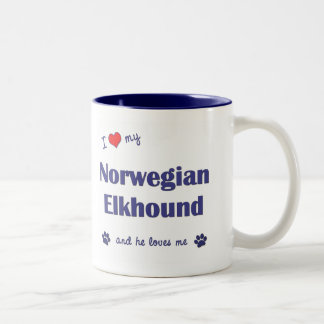 Amo mi Elkhound noruego (el perro masculino) Taza De Dos Tonos