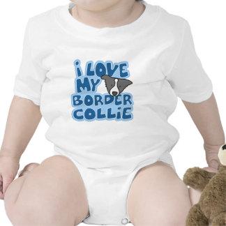 Amo mi enredadera del bebé del border collie traje de bebé