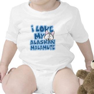 Amo mi enredadera del bebé del Malamute de Alaska Trajes De Bebé