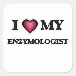 Amo mi Enzymologist Pegatina Cuadrada