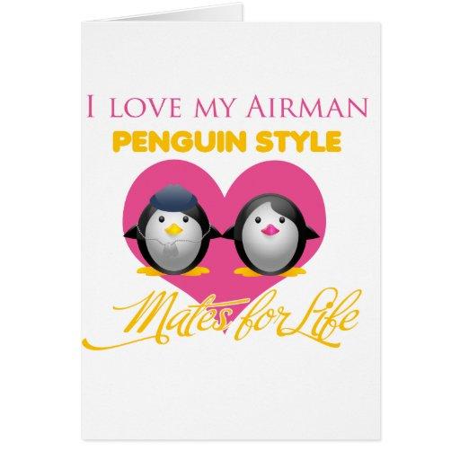 Amo mi estilo del pingüino del aviador tarjeta de felicitación