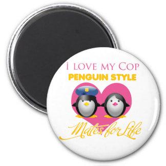 Amo mi estilo del pingüino del poli imán redondo 5 cm