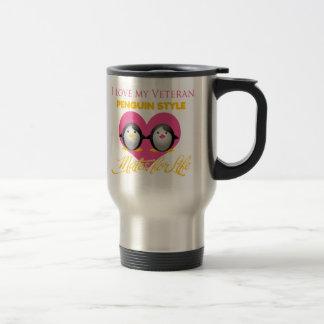 Amo mi estilo del pingüino del veterano tazas de café
