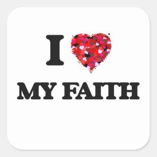 Amo mi fe pegatina cuadrada