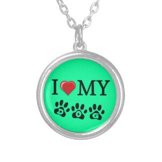 Amo mi fondo de la verde menta del collar del perr