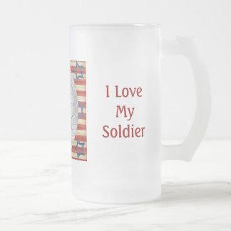 Amo mi foto de encargo del soldado personalizada taza cristal mate