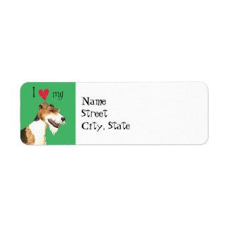 Amo mi fox terrier del alambre etiquetas de remite