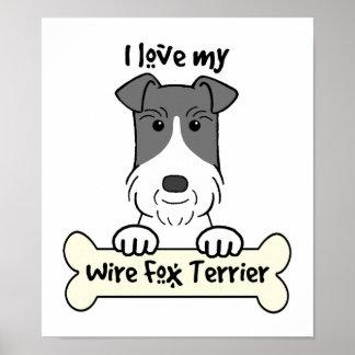 Amo mi fox terrier del alambre póster