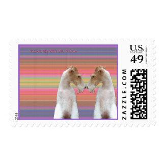 Amo mi fox terrier del alambre sellos postales