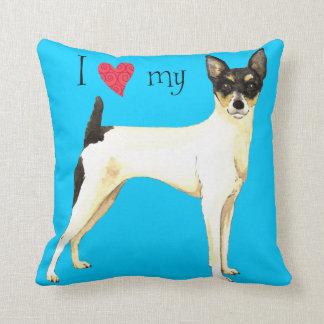 Amo mi fox terrier del juguete almohadas