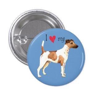 Amo mi fox terrier liso pin redondo 2,5 cm