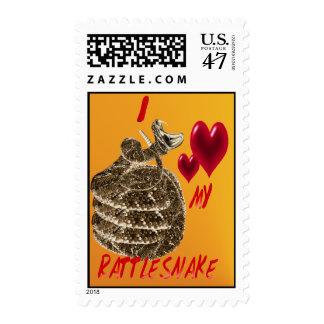 Amo mi franqueo de la serpiente de cascabel timbres postales