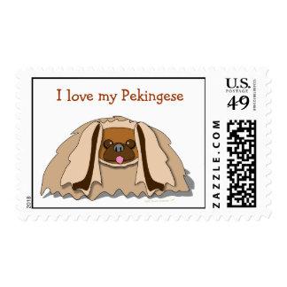 Amo mi franqueo del perro de Pekingese del dibujo