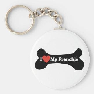 Amo mi Frenchie - hueso de perro Llavero Redondo Tipo Pin