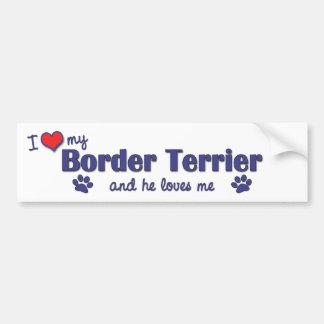 Amo mi frontera Terrier (el perro masculino) Pegatina De Parachoque