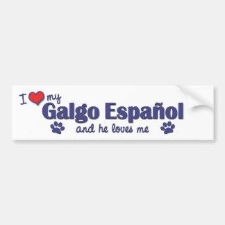 Amo mi Galgo Espanol el perro masculino Pegatina De Parachoque