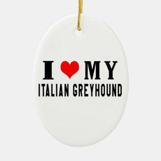 Amo mi galgo italiano adorno ovalado de cerámica