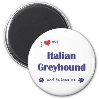 Amo mi galgo italiano (el perro masculino) imán redondo 5 cm