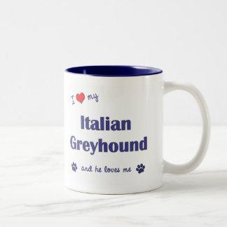 Amo mi galgo italiano el perro masculino tazas de café