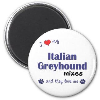 Amo mi galgo italiano me mezclo (los perros múltip imán redondo 5 cm