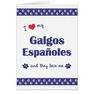 Amo mi Galgos Espanoles (los perros múltiples) Tarjeta Pequeña