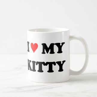Amo mi gatito taza básica blanca