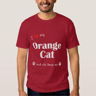 Amo mi gato anaranjado (el gato femenino) playeras