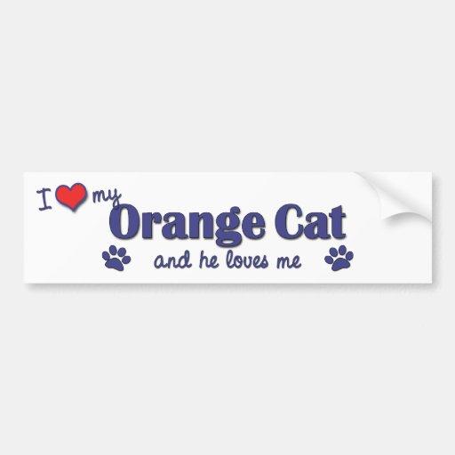 Amo mi gato anaranjado (el gato masculino) pegatina de parachoque