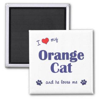 Amo mi gato anaranjado (el gato masculino) imán cuadrado