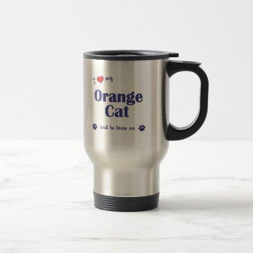 Amo mi gato anaranjado (el gato masculino) taza de café