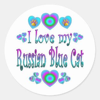 Amo mi gato azul ruso pegatina redonda