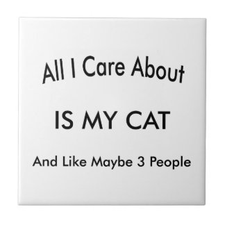 Amo mi gato azulejo cuadrado pequeño