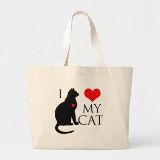 Amo mi gato bolsa tela grande