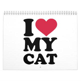 Amo mi gato calendarios de pared