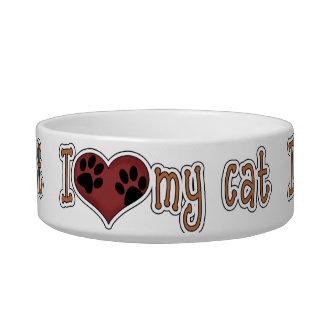 Amo mi gato tazón para comida gato