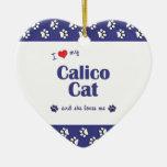Amo mi gato de calicó (el gato femenino) ornamento de navidad