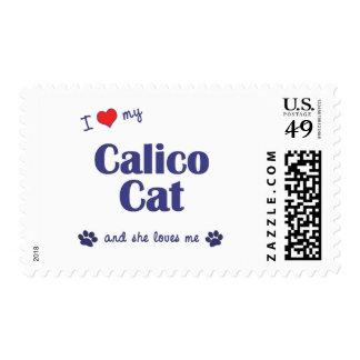 Amo mi gato de calicó (el gato femenino) sellos