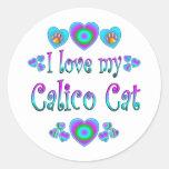 Amo mi gato de calicó pegatina redonda