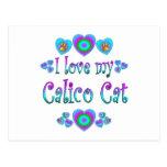 Amo mi gato de calicó tarjetas postales