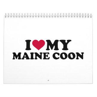 Amo mi gato de coon de Maine Calendarios