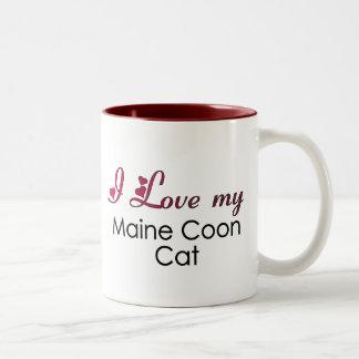 Amo mi gato de Coon de Maine Taza De Dos Tonos