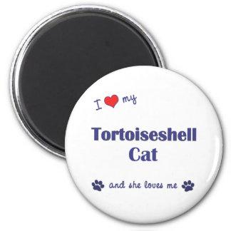 Amo mi gato de la concha (el gato femenino) imán redondo 5 cm