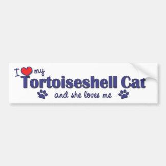 Amo mi gato de la concha (el gato femenino) pegatina para auto