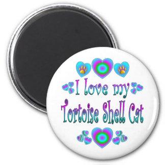 Amo mi gato de la concha imán redondo 5 cm