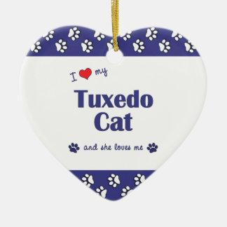 Amo mi gato del smoking (el gato femenino) adorno navideño de cerámica en forma de corazón