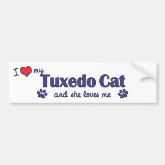 Amo mi gato del smoking (el gato femenino) etiqueta de parachoque