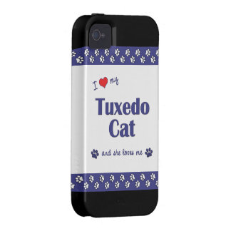 Amo mi gato del smoking (el gato femenino) iPhone 4 carcasa