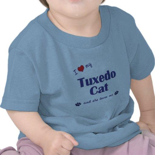 Amo mi gato del smoking (el gato femenino) camisetas